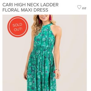 CARI HIGH NECK LADDER FLORAL MAXI DRESS